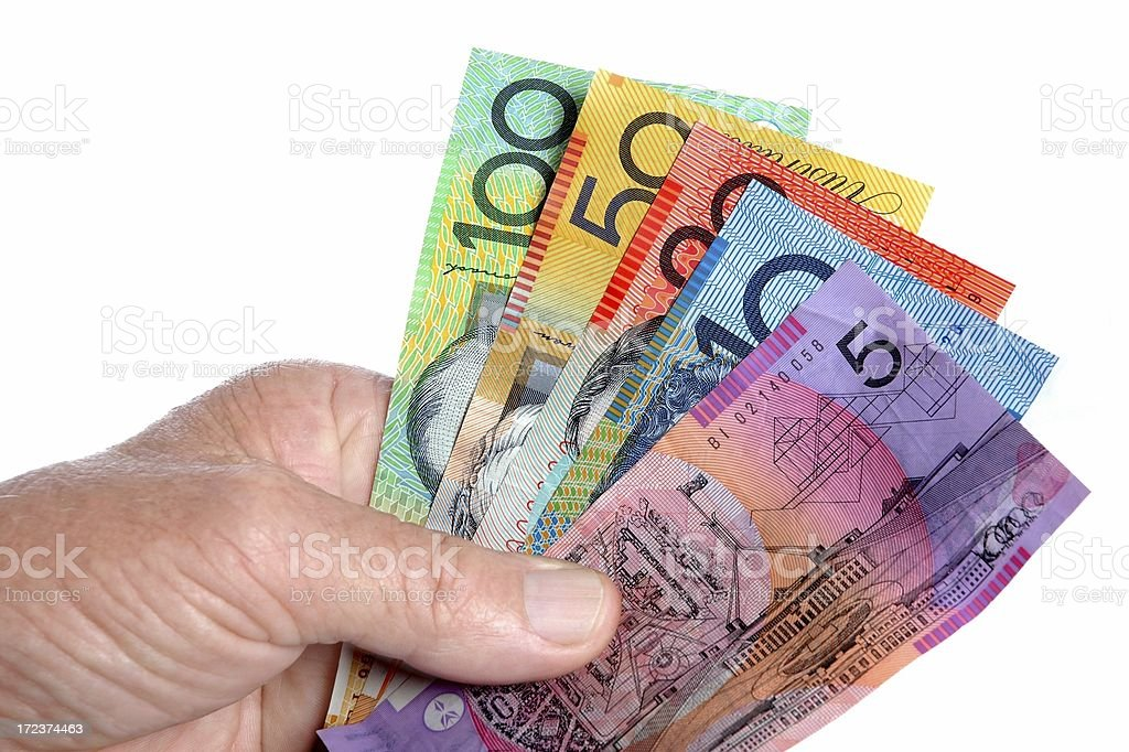 Australian notes money in hand close up with white background royalty-free stock photo
