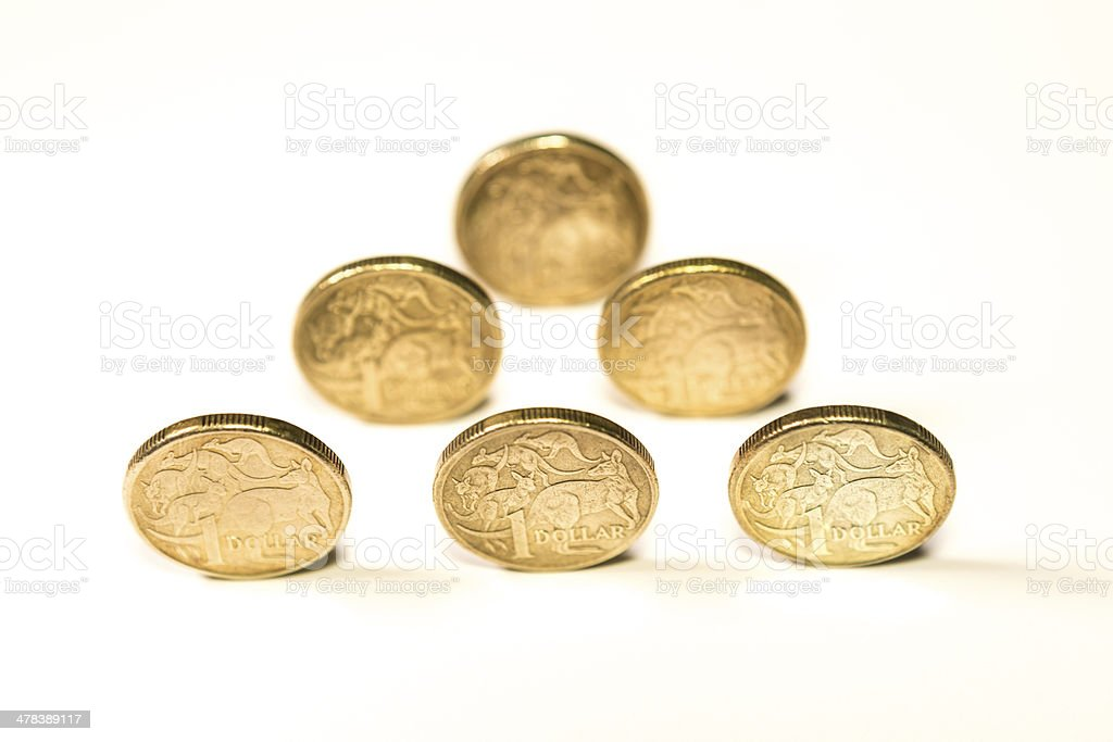 Australian one dollar coins royalty-free stock photo