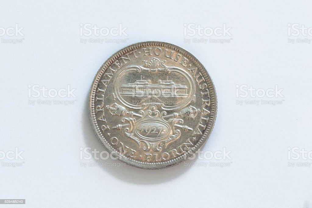 Australian One Florin Coin 1927 stock photo