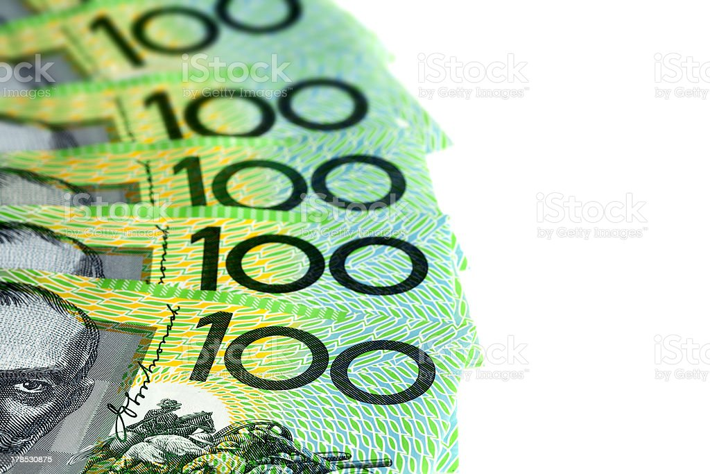 Australian One Hundred Dollar Bills over White royalty-free stock photo