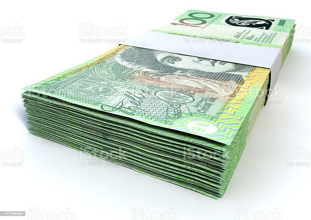 Australian One Hundred Dollar Notes Bundles royalty-free stock photo