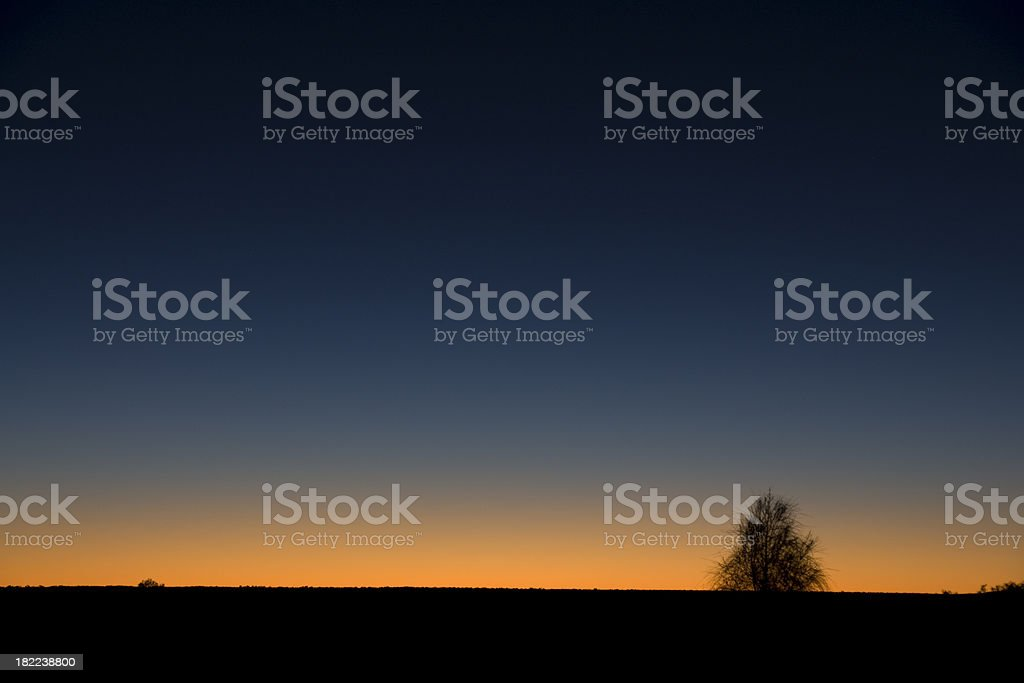 Australian Outback at sunset stock photo