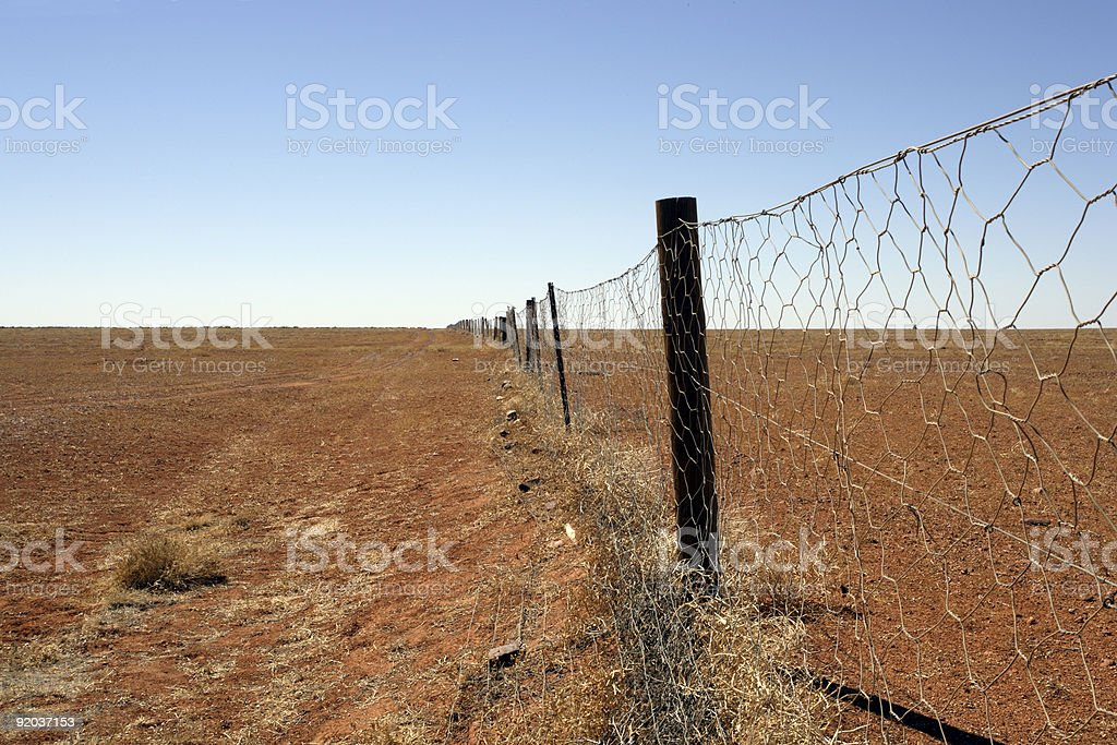 Australian outback Dingo fence stock photo