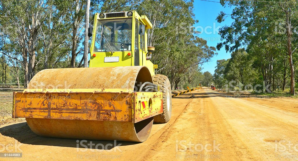 Australian Outback Roadworks with earth moving machinery stock photo