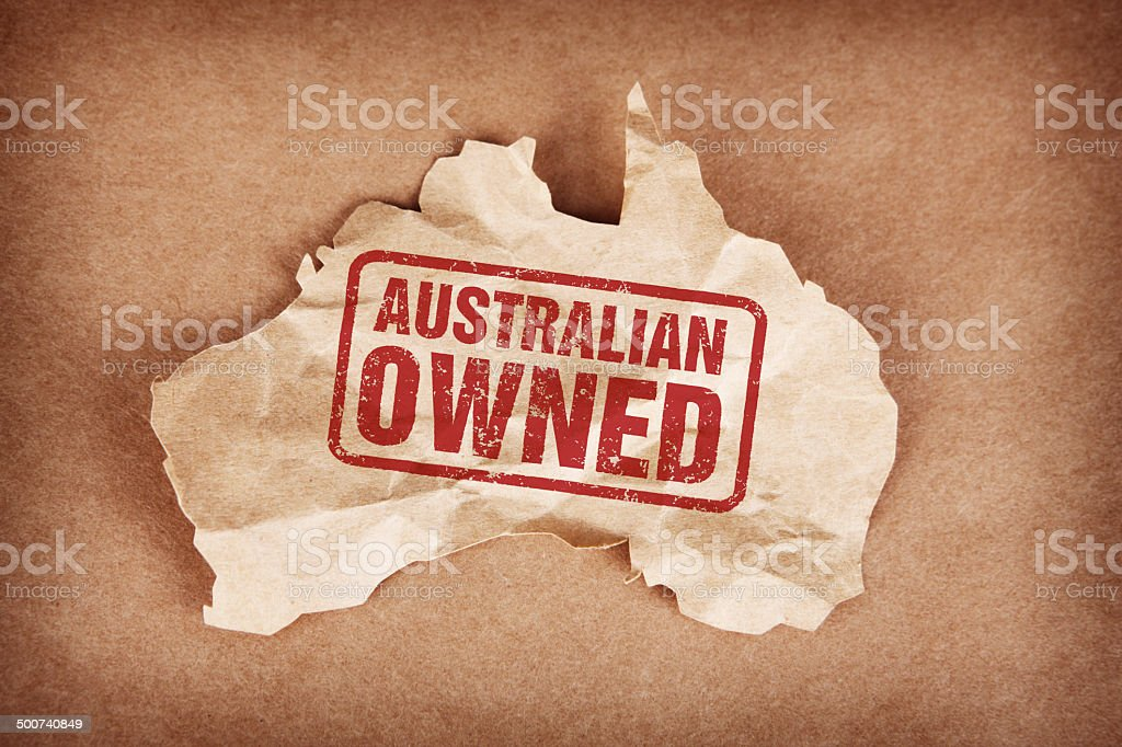 Australian Owned on Crumpled Brown Paper Australia with Cardboard Background stock photo