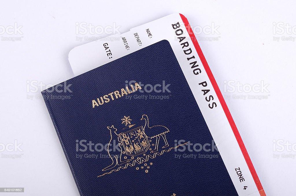 Australian Passport with International boarding pass stock photo
