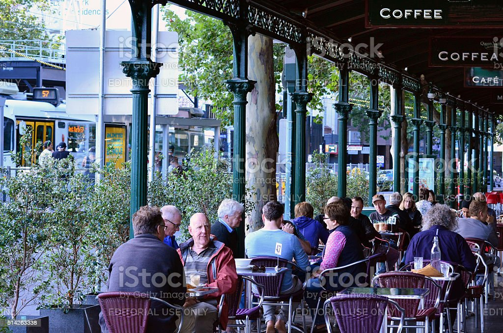 Australian people in Cafe - Melbourne stock photo