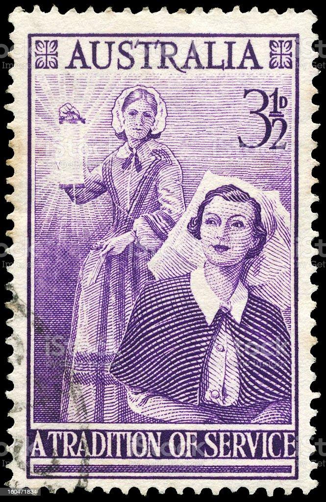 Australian Postage stamp with image of nurses stock photo