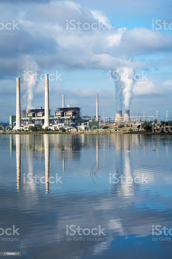 Australian power station reflecting on a lake stock photo