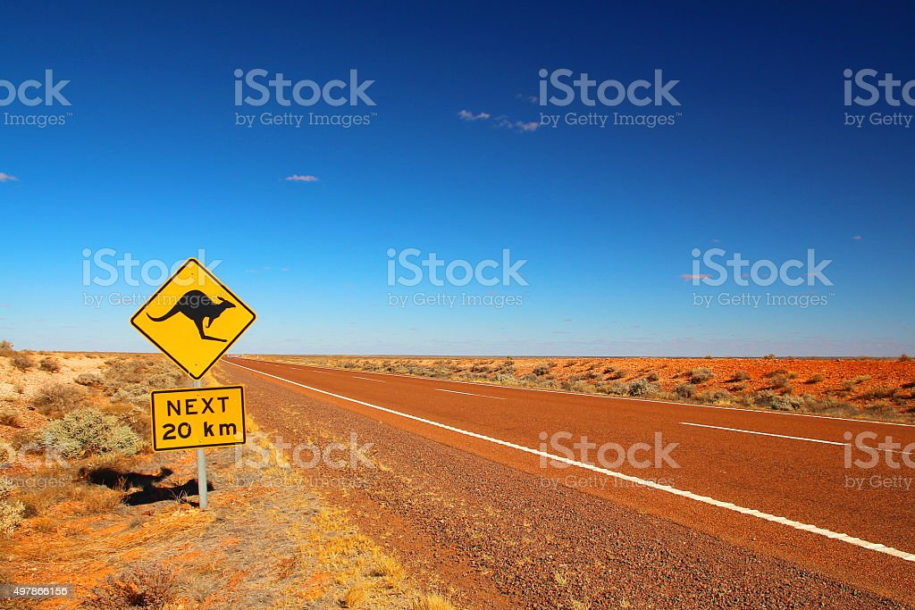 Australian road sign on the highway stock photo