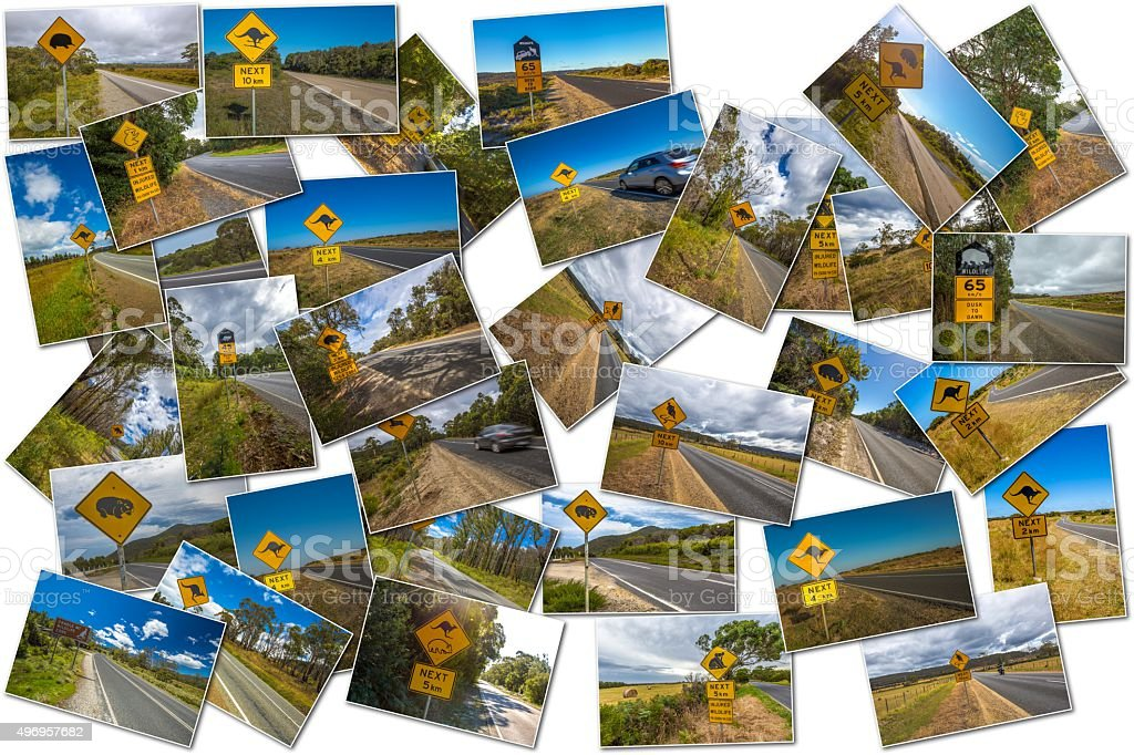 Australian road signs collage stock photo