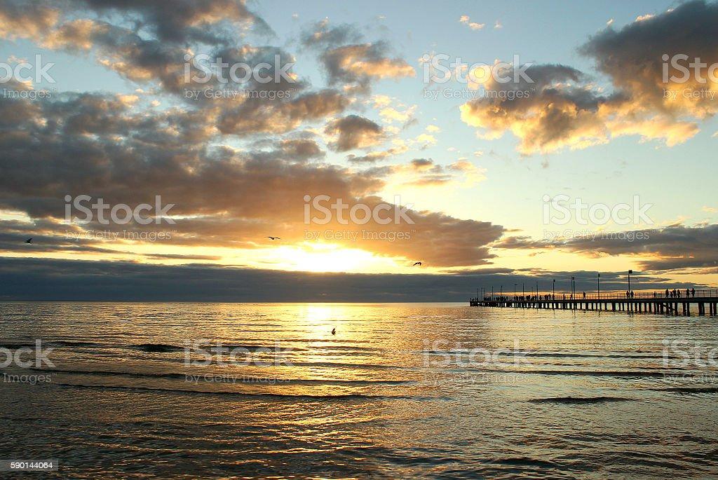 Australian sea sunset stock photo