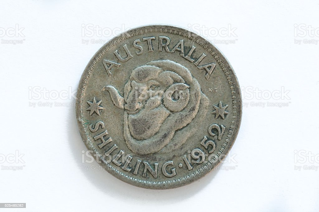 Australian Shilling from 1952 stock photo
