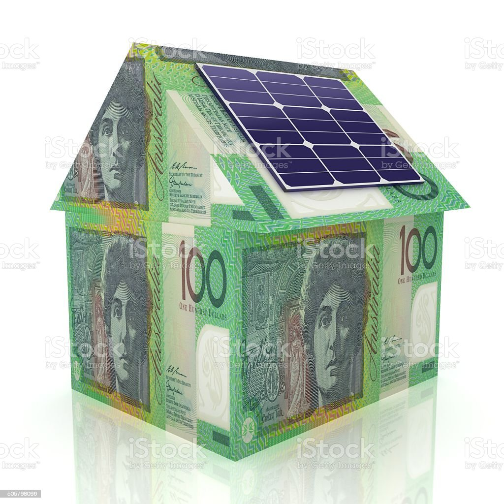 Australian solar energy savings smart house technology stock photo