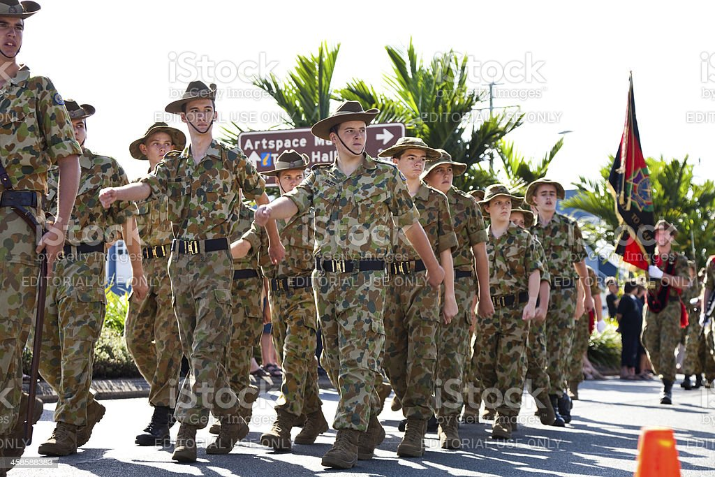 Australian Soldier Cadets at Anzac Day March Parade stock photo