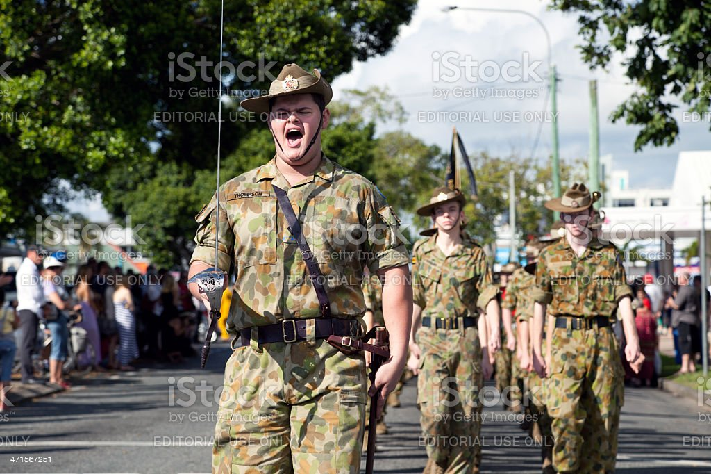 Australian Soldier Cadets marching on Anzac Day stock photo