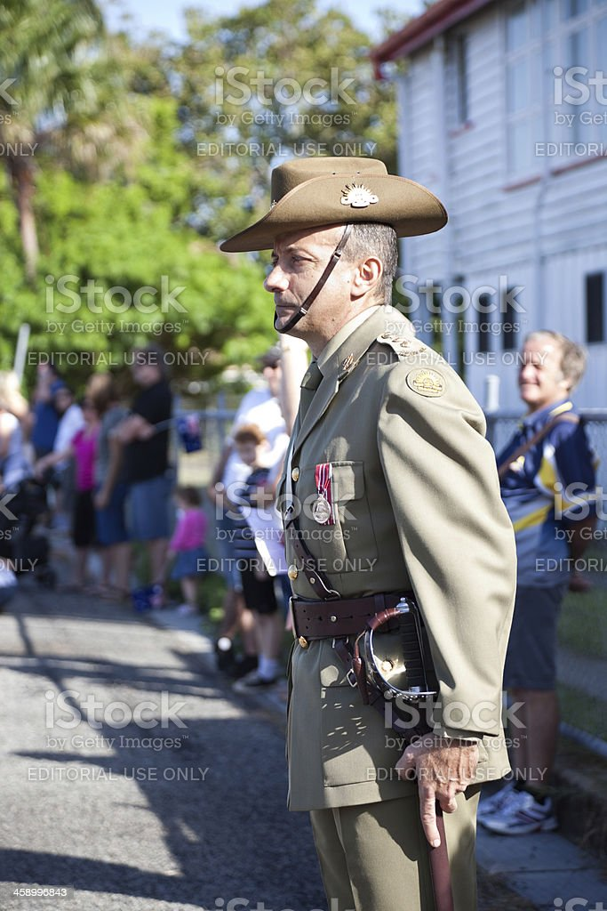 Australian Solider at Attention at ANZAC Day Mrach royalty-free stock photo