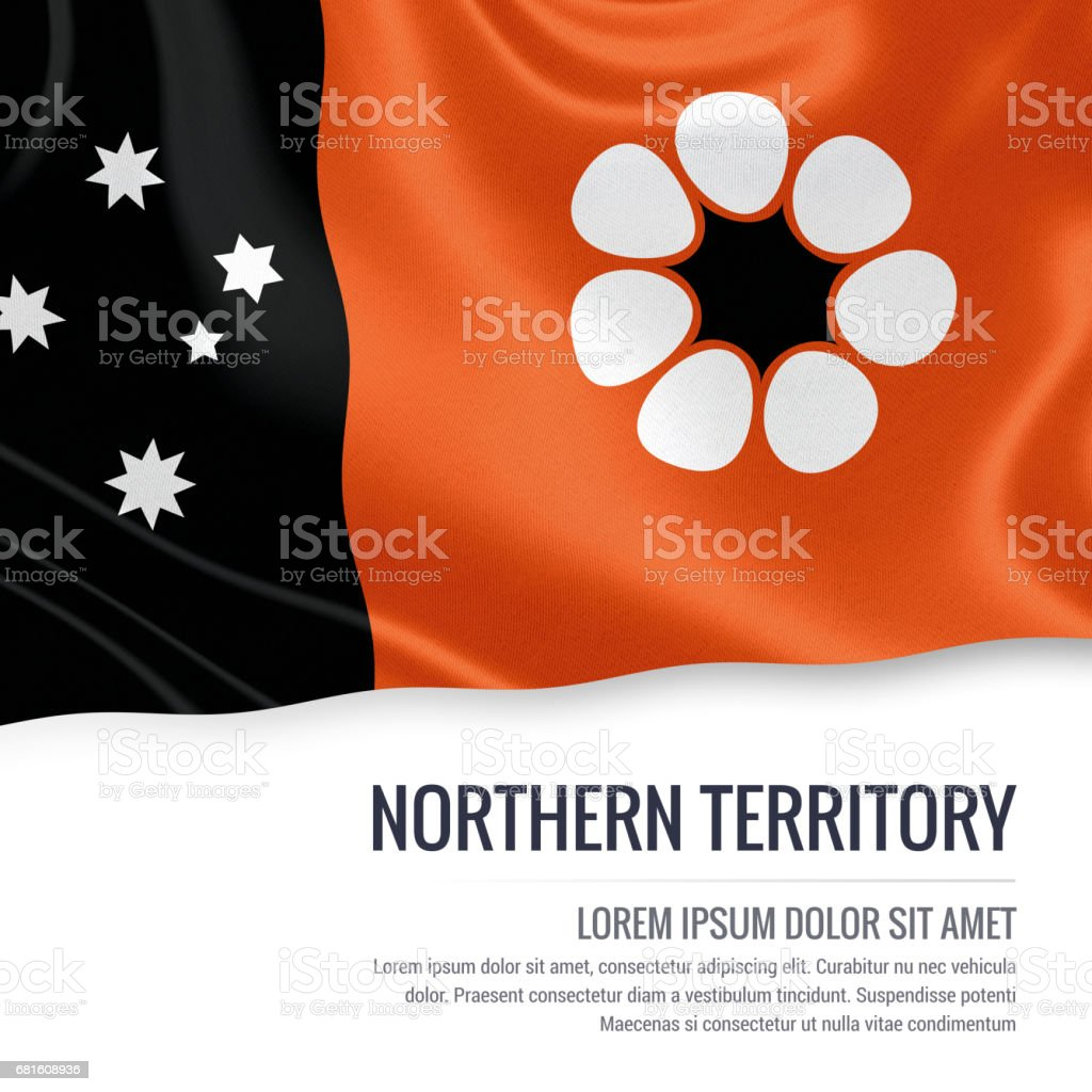 Australian state Northern Territory flag  waving on an isolated white background. State name and the text area for your message. vector art illustration