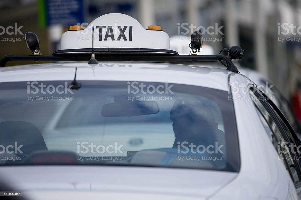 Australian style taxi in rank at Melbourne airport royalty-free stock photo