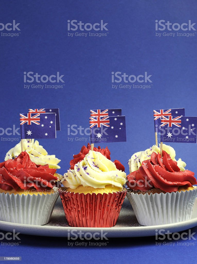 Australian theme red, white and blue cupcakes royalty-free stock photo