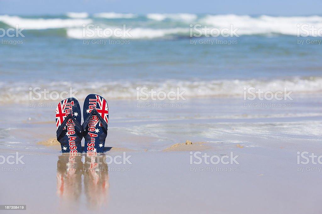 Australian Thongs at the Beach stock photo
