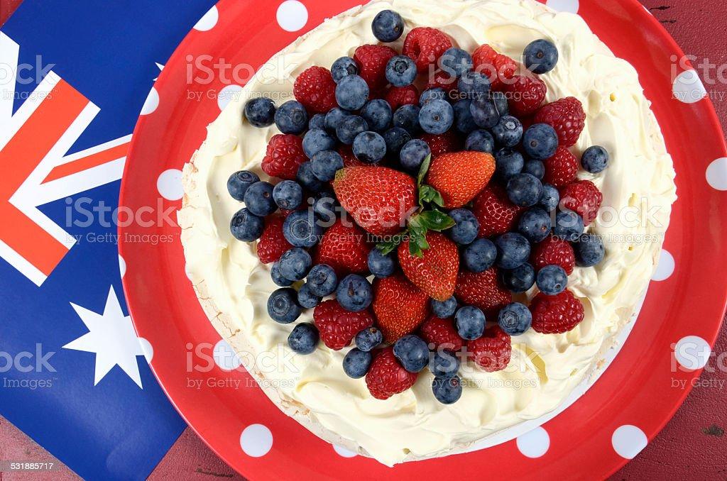 Australian traditional dessert, Pavlova. Overhead. stock photo