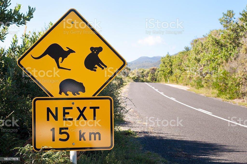 Australian Wildlife Road Sign stock photo