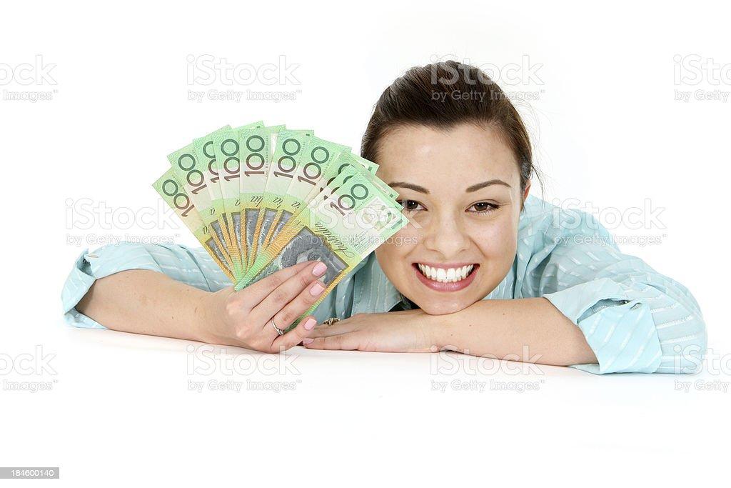 Australian Winner - Woman with Money royalty-free stock photo