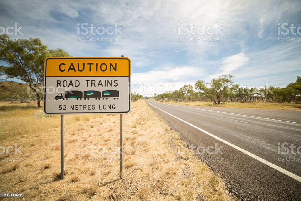 Australia's road trains warning sign stock photo