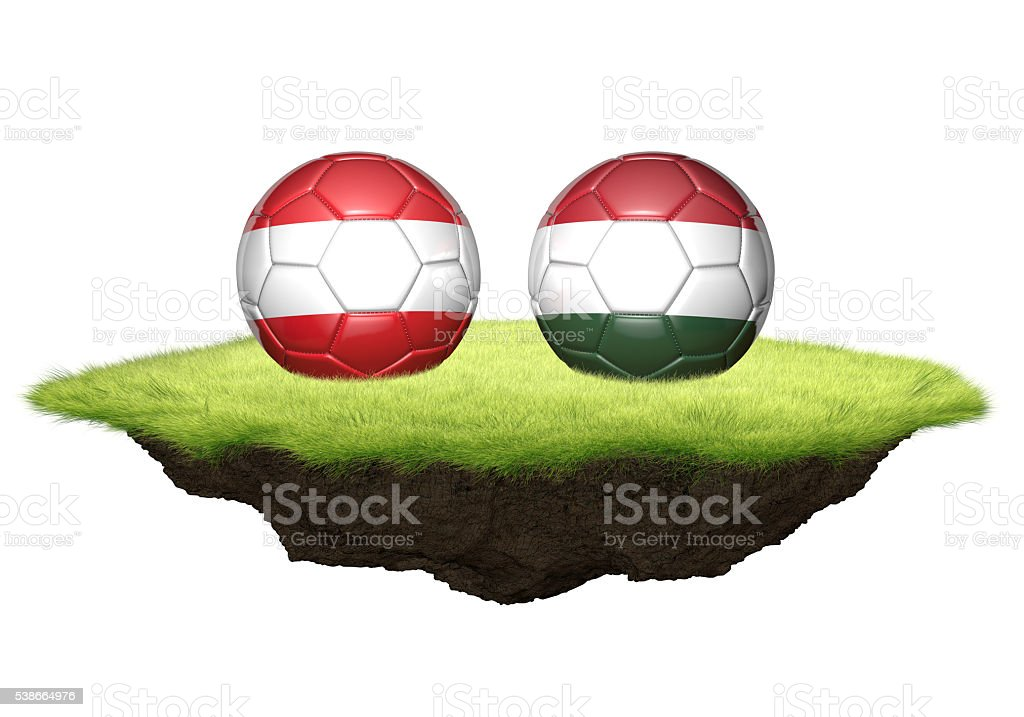 Austria and Hungary team balls for football championship tournament stock photo