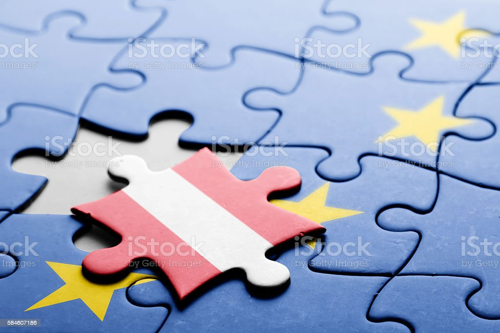 Austria. Exit from European Union concept puzzle stock photo