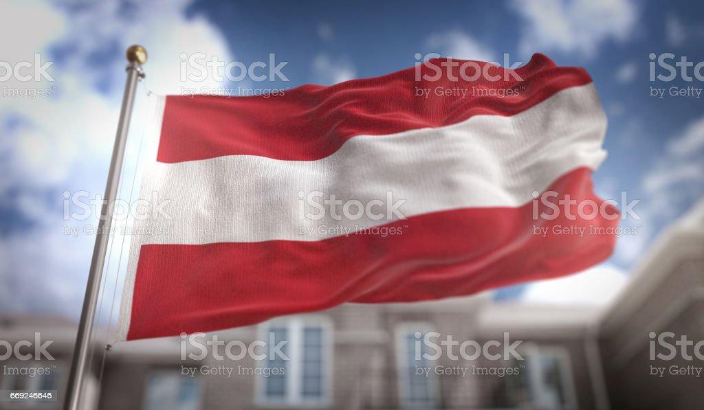 Austria Flag 3D Rendering on Blue Sky Building Background stock photo