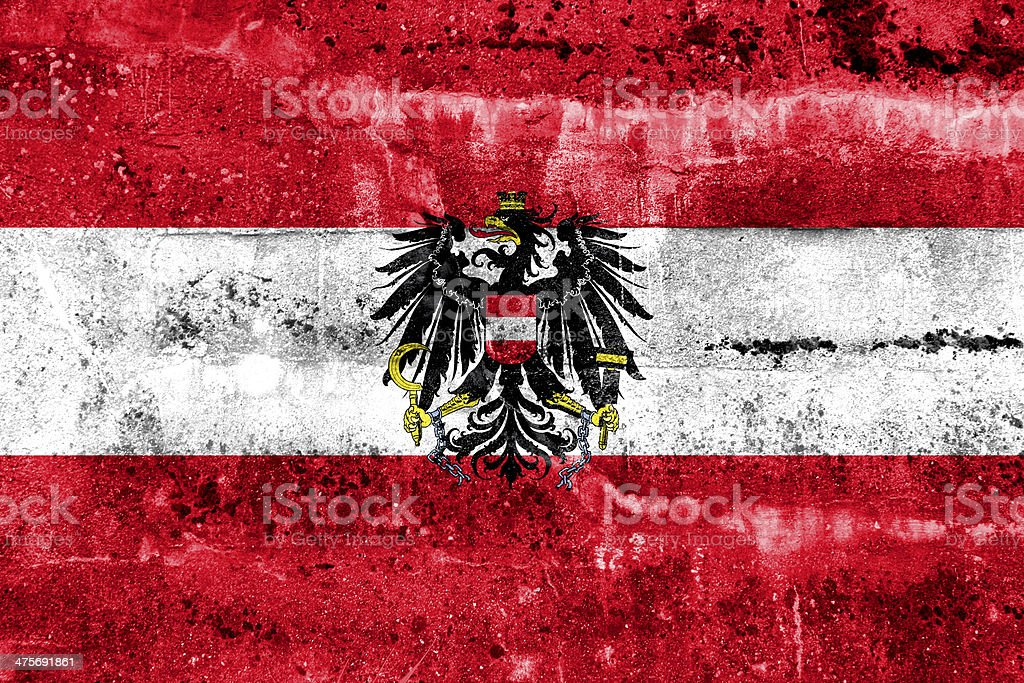 Austria Flag painted on grunge wall stock photo