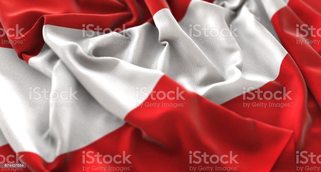 Austria Flag Ruffled Beautifully Waving Macro Close-Up Shot stock photo