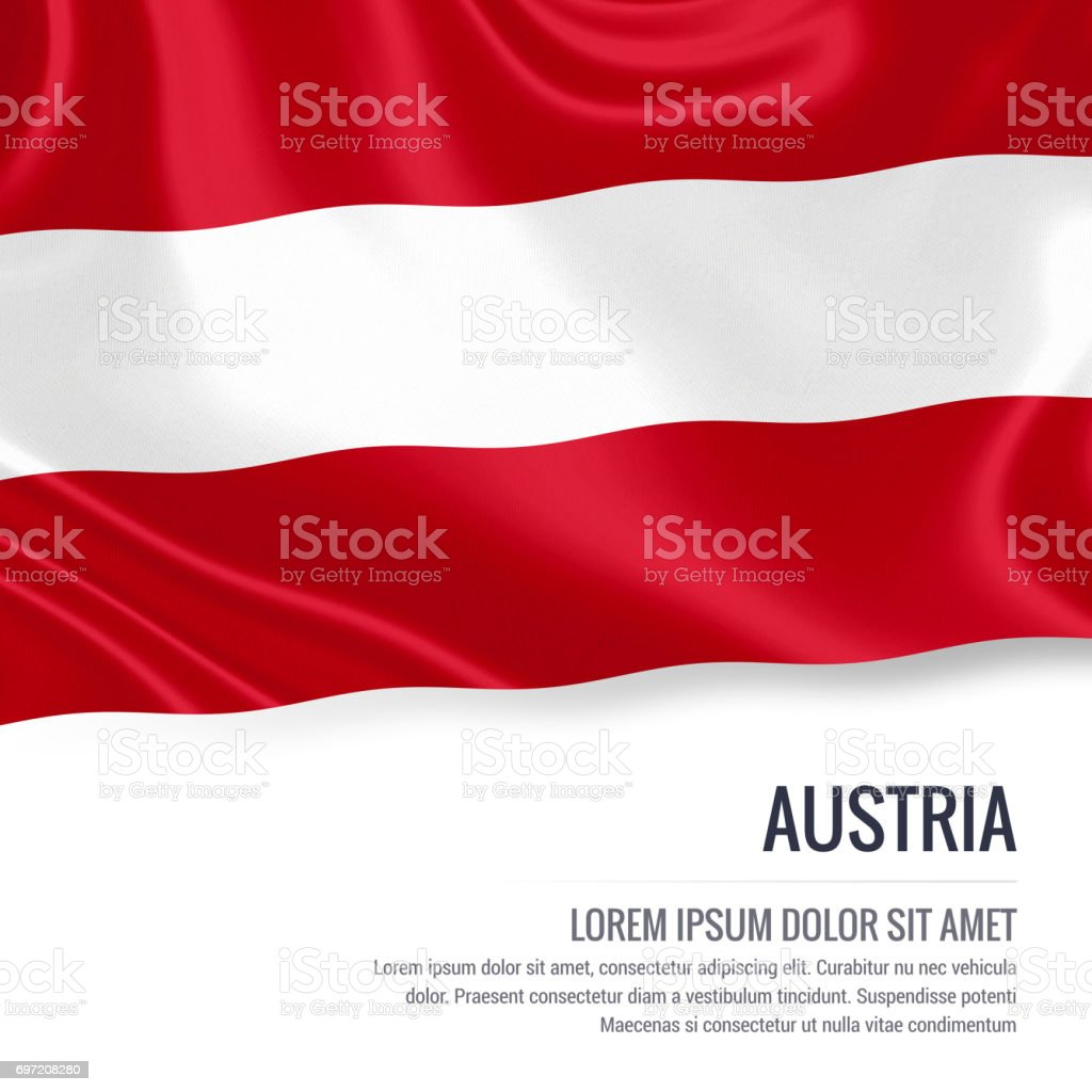 Austria flag. Silky flag of Austria waving on an isolated white background with the white text area for your advert message. 3D rendering. stock photo
