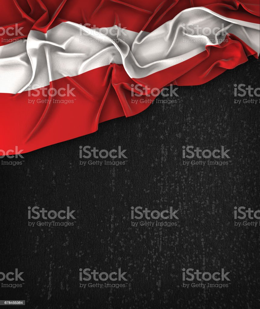 Austria Flag Vintage on a Grunge Black Chalkboard With Space For Text stock photo