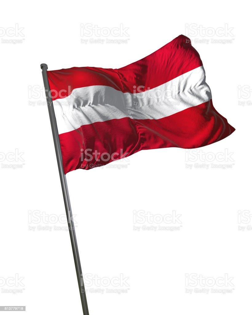 Austria Flag Waving Isolated on White Background Portrait stock photo