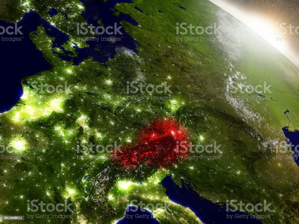 Austria from space highlighted in red stock photo