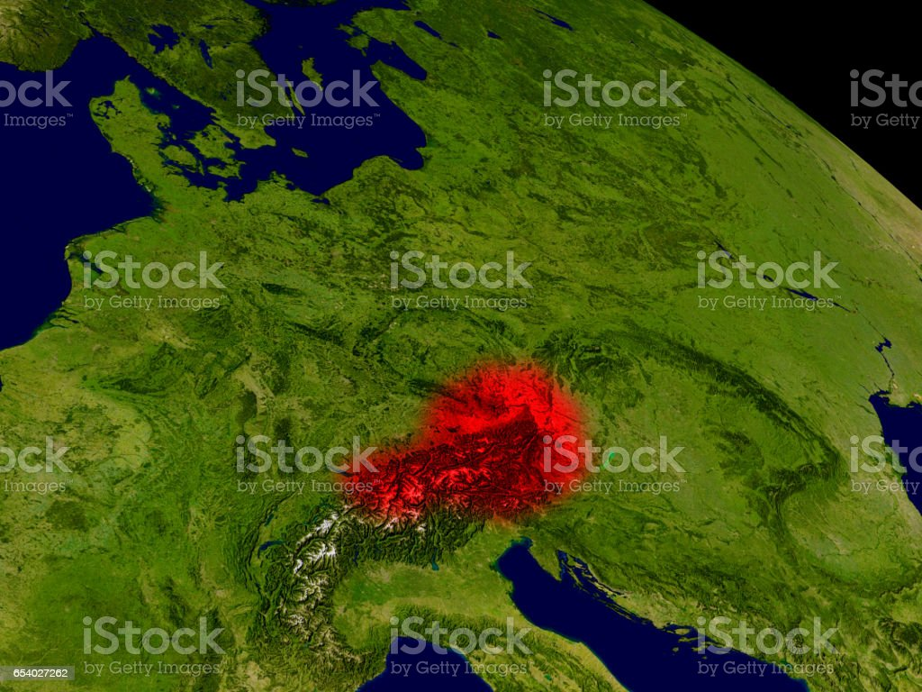 Austria from space stock photo