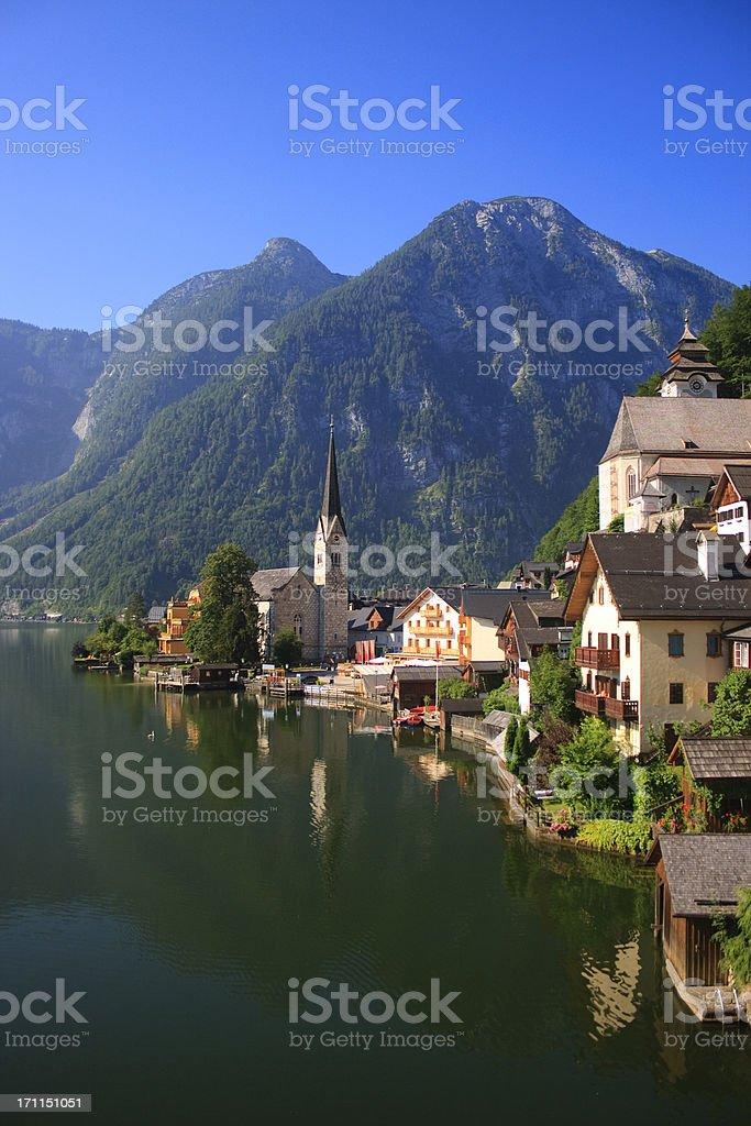Austria, Hallstatt Village and Hallstatter See lake stock photo