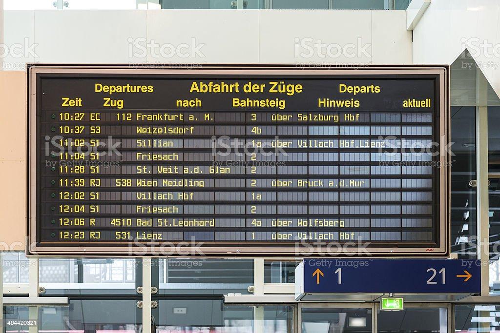 Austria inter-city train Departure Board royalty-free stock photo