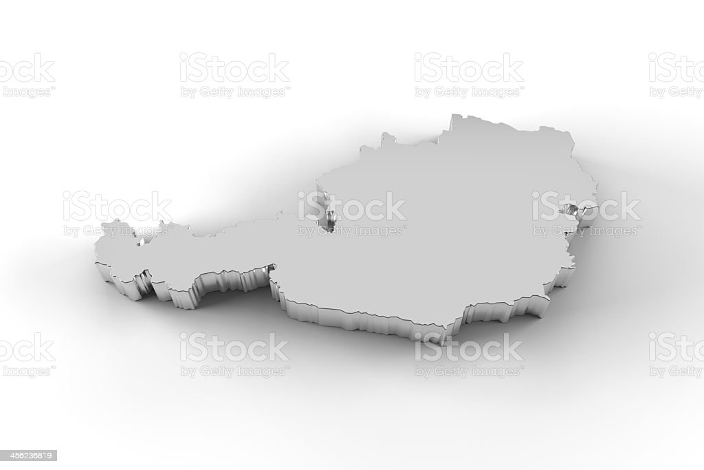 Austria map 3D silver with clipping path stock photo