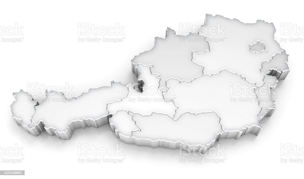 Austria map with regions - 3d on white stock photo