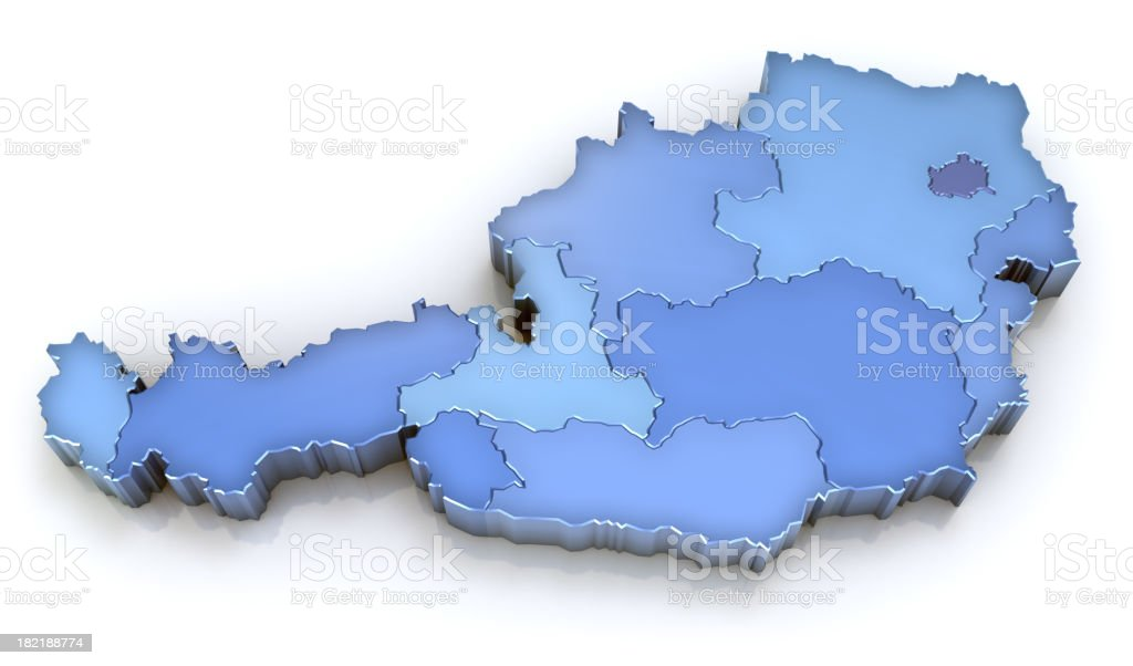 Austria map with regions royalty-free stock photo