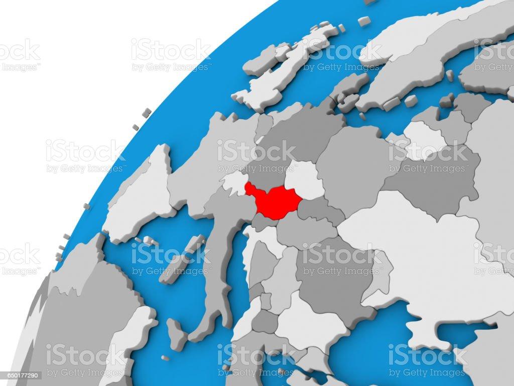 Austria on globe in red stock photo
