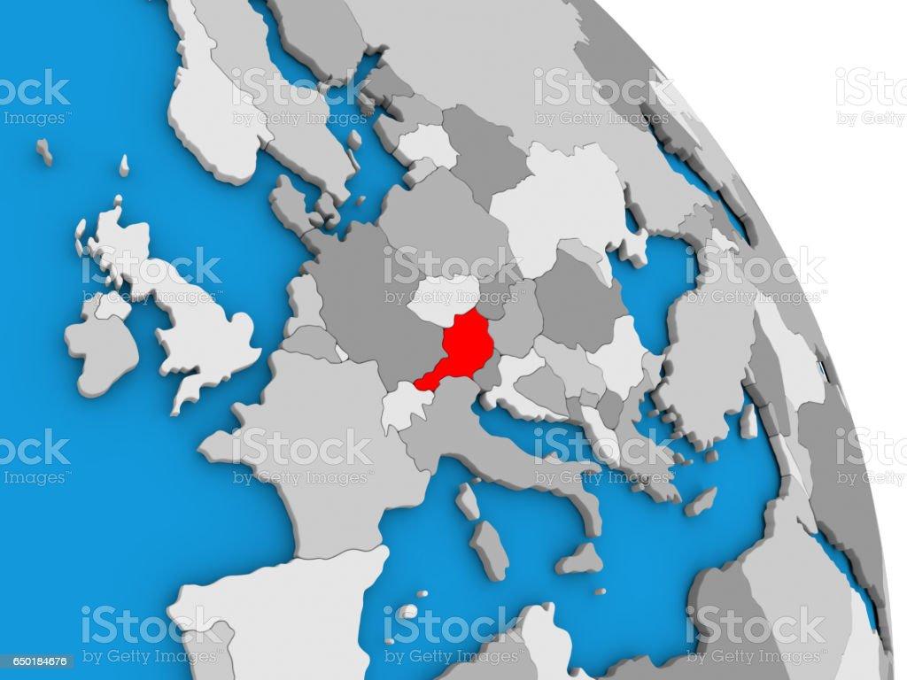 Austria on globe stock photo