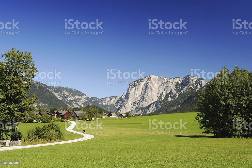 Austria Salzkammergut Summer Landscape with Mountains and Nature royalty-free stock photo