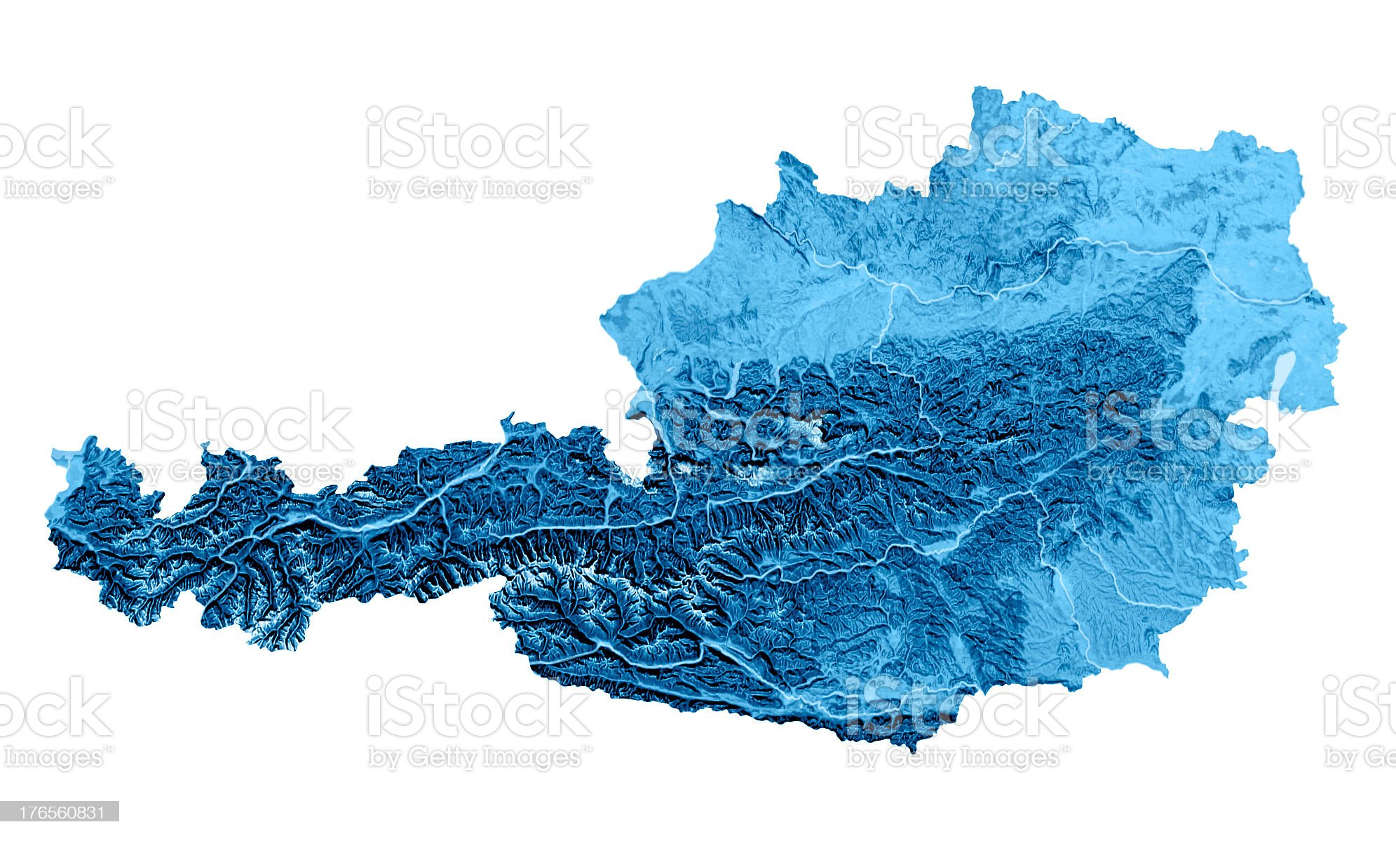 Austria Topographic Map Isolated royalty-free stock photo