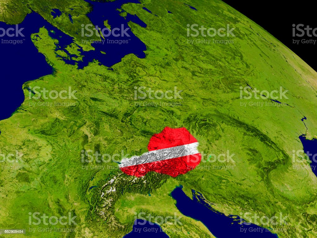 Austria with flag on Earth stock photo