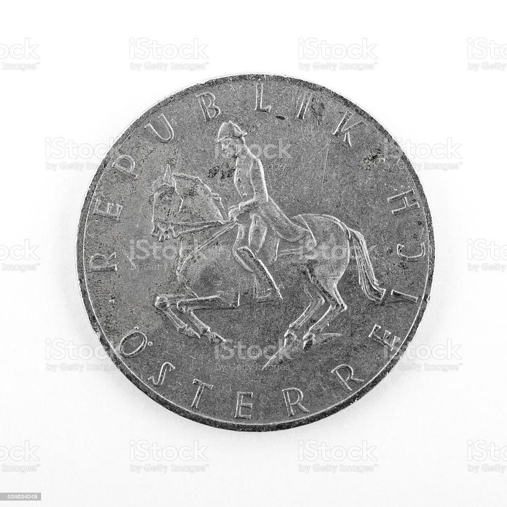 Austrian 5 Schilling Coins stock photo